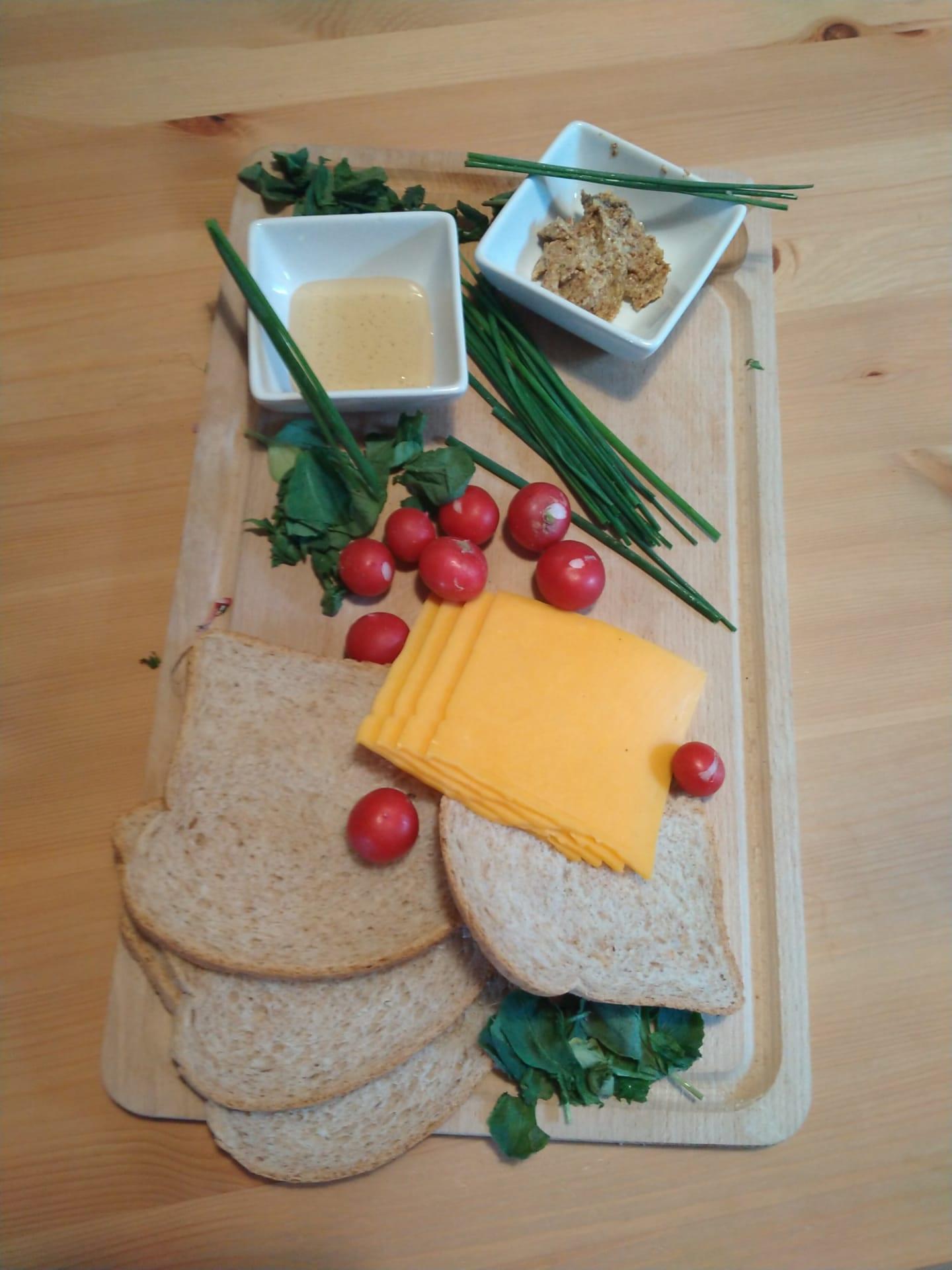 Kaas sandwich met vetvrije kaas bevat zeer weinig vet